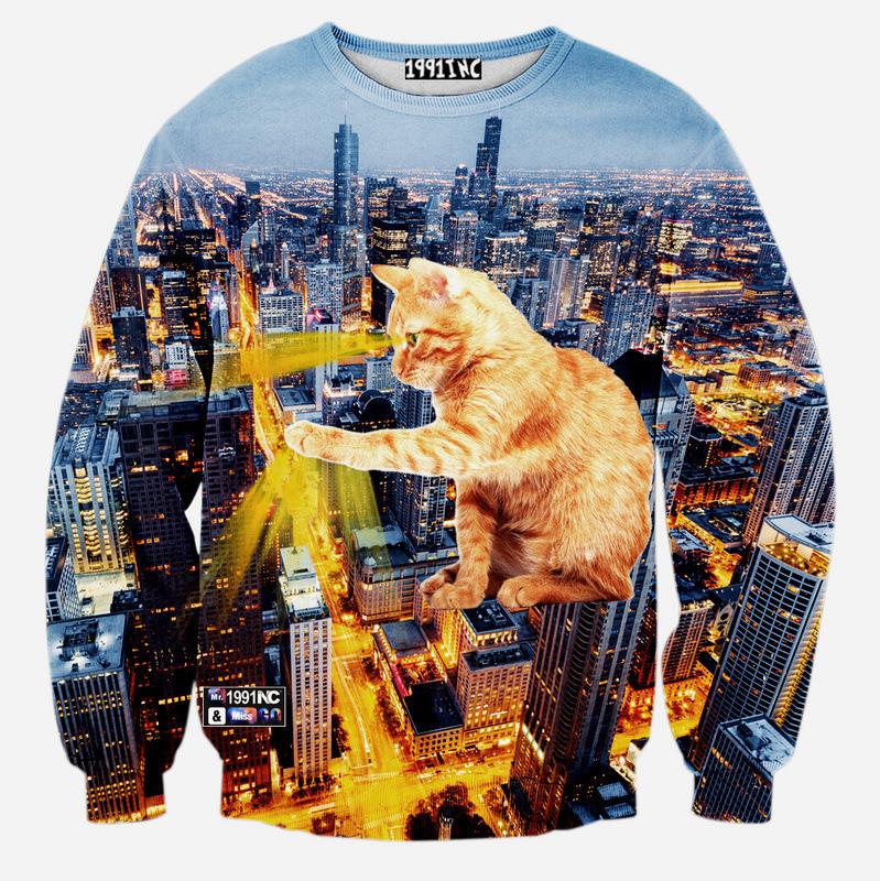 Осень / зима новый толстовка мужская мода 3D толстовка новинка наушники кошка печать sueter masculino