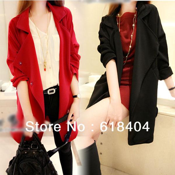 New Womens coat Ladies Lapel Loose Jacket Leisure Parka Outwear Tops beige/black/red one size fit6/8/10 WC83 FY - meijuan dai's store