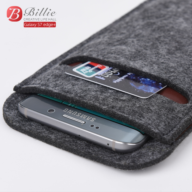 Universal High Quality 5.7 inch Wallet Case Wool Felt Smartphone Pouch Sleeve Bag Case For samsung galaxy s6 edge Plus Phone Bag(China (Mainland))