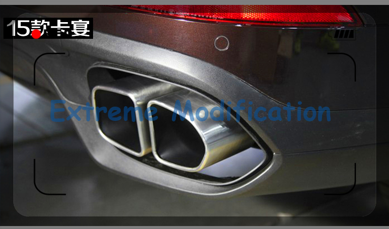 2015 Cayenne Turbo S Silver Square Muffler Tip Pipe with black end - Exhaust System(China (Mainland))