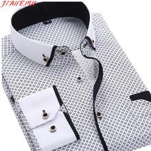 Dress Shirts Men 2015 New Arrival Fashion High Quality Long Sleeve Slim Square Collar Cotton Male Business Shirt Size M-5XL N454