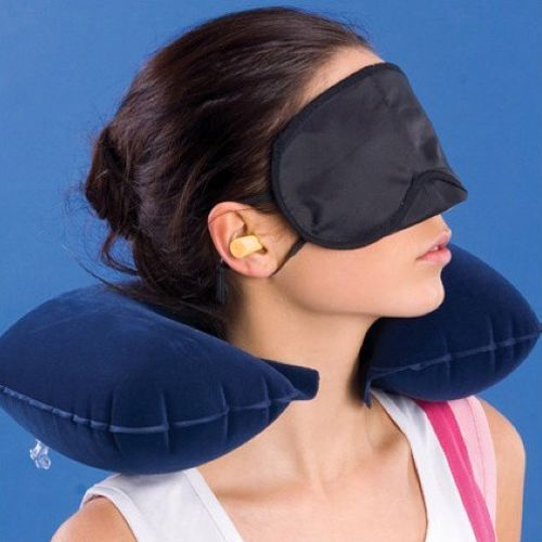 Free shipping! 3 in1 Travel Set Inflatable Neck Air Cushion Pillow + eye mask + 2 Ear Plug Comfortable business trip(China (Mainland))