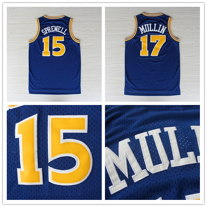 Golden State Chris Mullin 17 Jersey, Latrell Sprewell 15 Jersey, Blue Mesh Jersey, Cheap Basketball Jerseys S-3XL Free Shipping(China (Mainland))