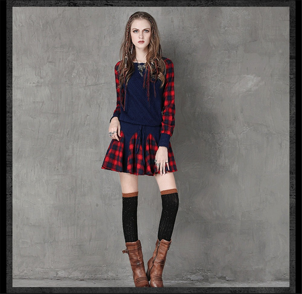 Vintage Wool WINTER DRESS 2016 Casual Knitting Long Sleeve Women Dress Plaid Sashes Patchwork Sweater Dress Woman O-neck Vestido (8)