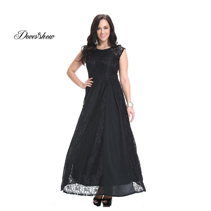 Doves Show Vestidos Women Dress 2016 Women Summer Desigual Elegant Sleeveless Lace Patchwork Party Dresses Plus size Dresses 7XL