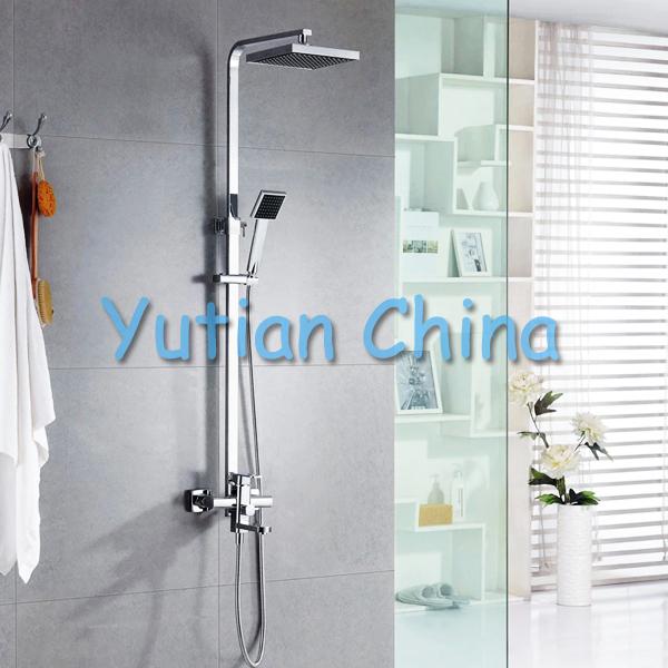 "Free shipping Polished Chrome Finish 8"" Rain Shower Faucet Set Bathtub Mixer Tap Shower Column YT-5306(China (Mainland))"