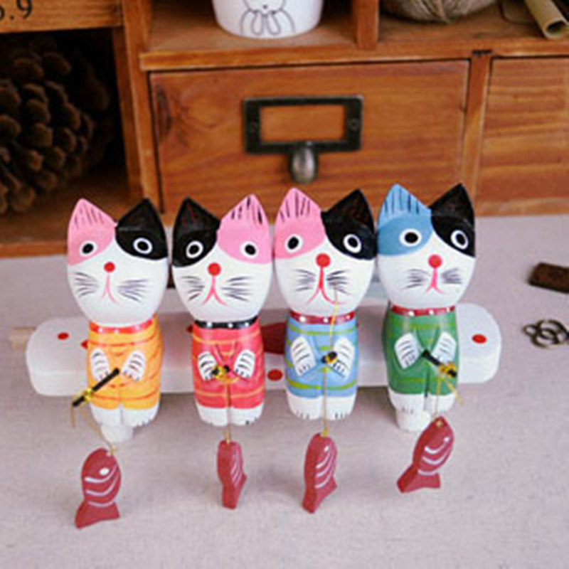 Nordic Fishing Cat Wood Animal carved carving Wood Crafts Gift Wedding Party Wooden Cat Home Decor Cat Wood Animal Four Lot Sets(China (Mainland))