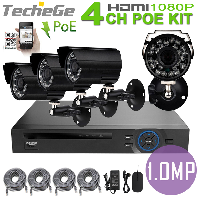 4CH PoE NVR CCTV System 4PCS 1.0 MP IR Weatherproof 720p IP Camera poe nvr kit CCTV System Surveillance Kit<br><br>Aliexpress
