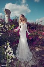 Julie Vino Fashion Wedding Dresses 2015 Sheath V Neck Long Sleeve Floor Length Lace Bridal Gowns GL - LiCheng Wedding&Evening Store store