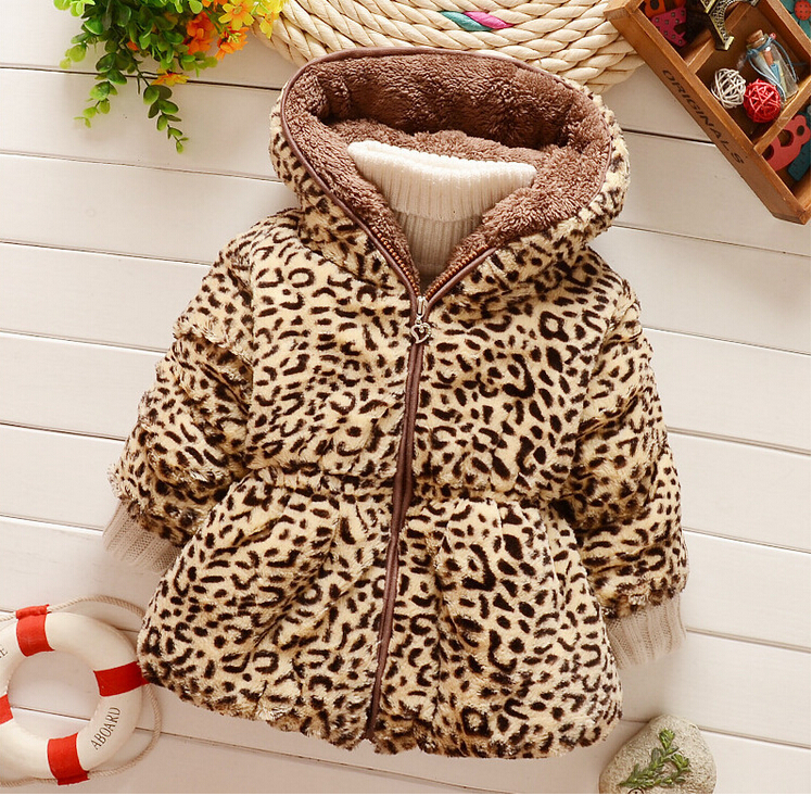 2016 fashion baby warm coat autumn winter children party outerwear jacket baby girls leopard print faux fur Parkas(China (Mainland))