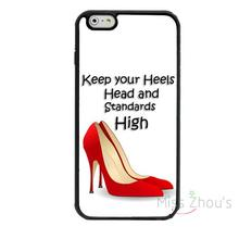 For iphone 4/4s 5/5s 5c SE 6/6s 7 plus ipod touch 4/5/6 back skins cellphone cases cover Keep Your Heels Quote With Red Pumps