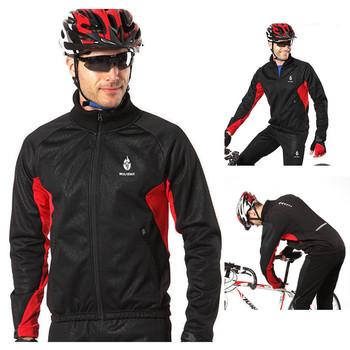 WOLFBIKE Men Fleece Thermal Winter Cycling Long Sleeve Wind-Jacket Windbreaker Bicycle Bike Windproof Sport Jersey Black
