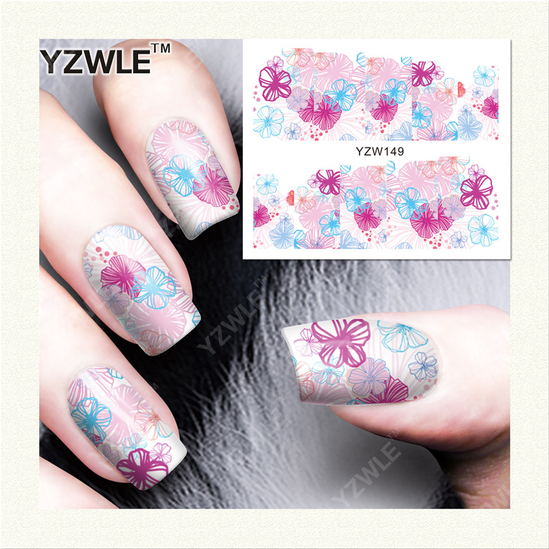 YZWLE 1 Sheet DIY Decals Nails Art Water Transfer Printing Stickers Accessories For Manicure Salon (YZW-149)(China (Mainland))