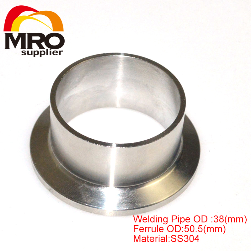 """High Quality 38MM 1-1/2"""" 1.5"""" OD Sanitary Weld on 50.5mm Ferrule Tri Clamp Stainless Steel Welding Pipe Fitting SS304 SW-38(China (Mainland))"""