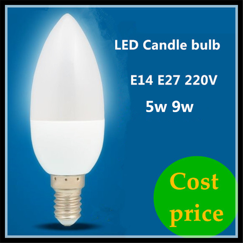 Cost price led candle lamp e14 e27 5w 9w 220v spotlight smd2835 warm cool white led bulb light Cost of light bulb