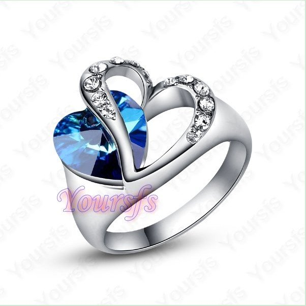 Free Shipping Wholesale Hot Sale Unique Jewelry 18K Rhodium Plated GP Use Crystal Titanic Heart Of Ocean Wedding Ring R084W1(China (Mainland))