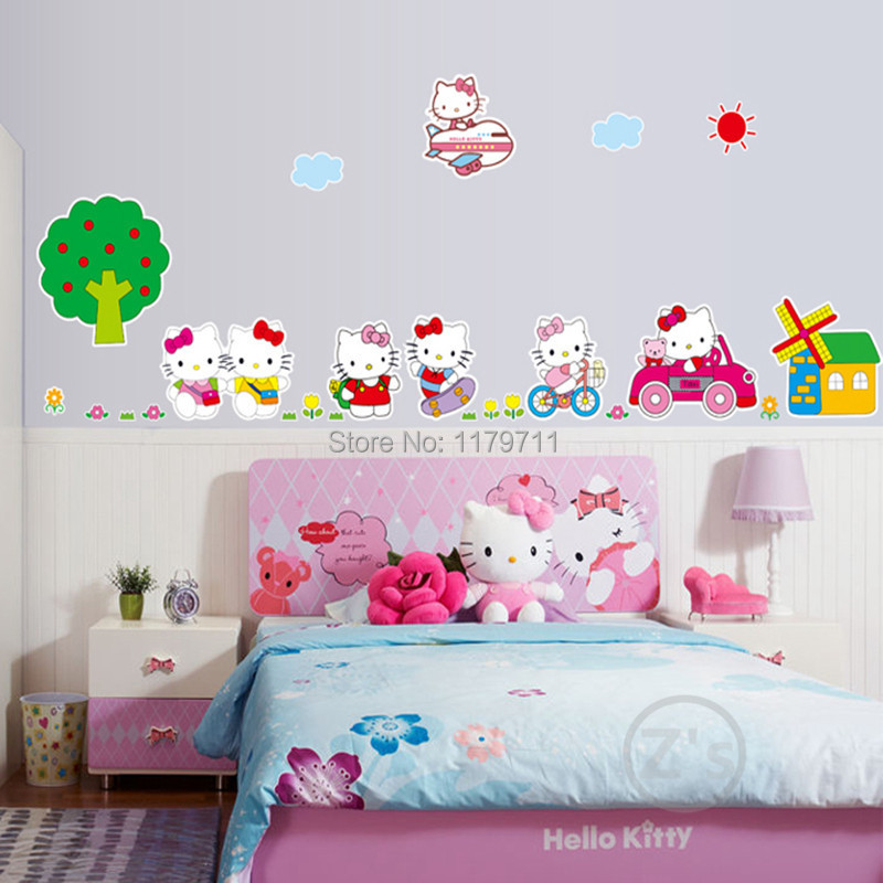 Kt Cat Hello Kitty Bedroom Decor Wall Sticker For Girls