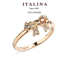 Free Shipping! New 2015 Fashion ITALINA Jewelry Gold Plated AAA Top Grade Cubic Zirconia Bowknot Rings For Women/Girls Promotion