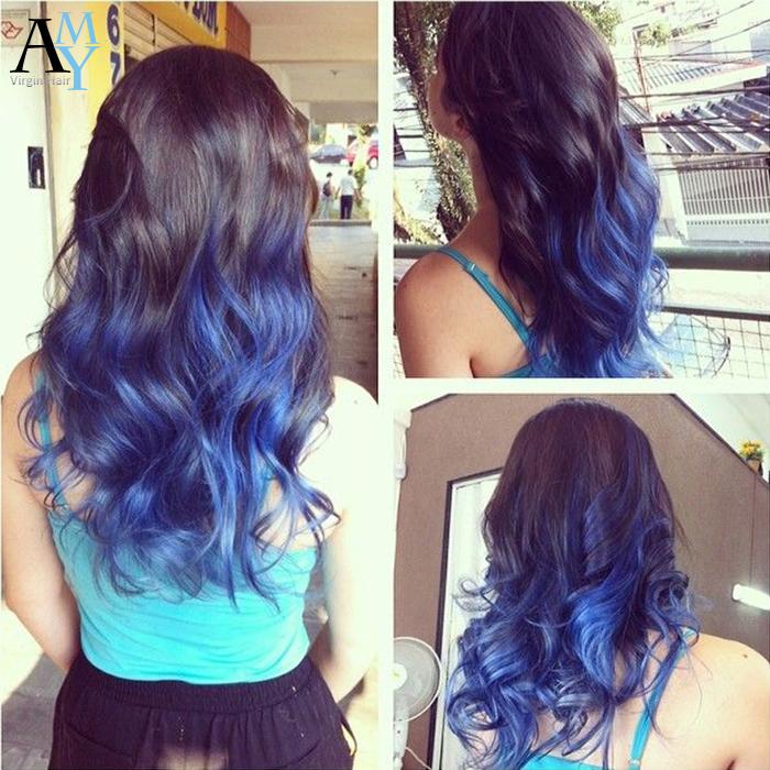 Brazilian virgin hair body wave 1b blue ombre human hair 7A grade ombre hair extensions 4 bundles lot remy wavy hair weaving