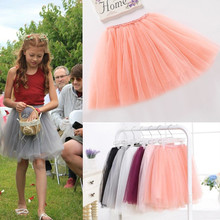 2016 summer lovely fluffy soft tulle girls tutu skirt pettiskirt 7 colors girls skirts for 2-10Y kids mother daughter clothes(China (Mainland))