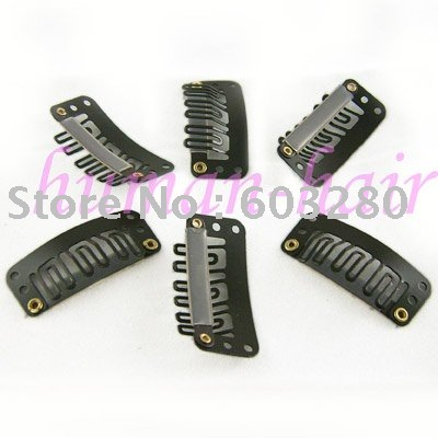 50pcs Snap clips with silicone back for Hair Extensions/wig/weft 32mm long Brown color<br><br>Aliexpress