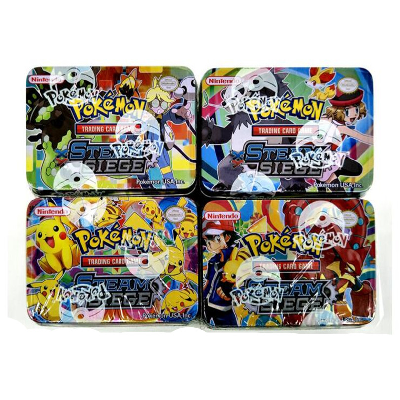 2017 new,42pcs/LOT,pokeball cards Metal Box Set toy,pikachu cards playing cards Anime action figure,poke ex cards kids toy(China (Mainland))