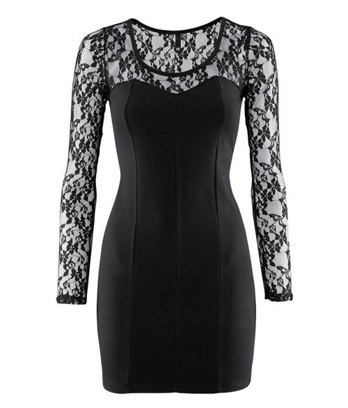hot sale free shipping 2012 new 6 size XS-XXL Women Elastic Slim Black See Through Lace Long Sleeve evening short dress HY97