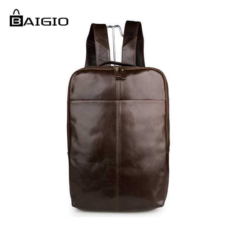 Baigio Mens Backpacks 14 Inch Laptop Bag Backpack Font Vintage Genuine Leather