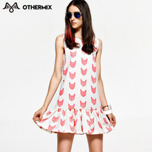 Othermix 2016 Women Style High Street Latest Dress Design Clothing Print Dress(China (Mainland))