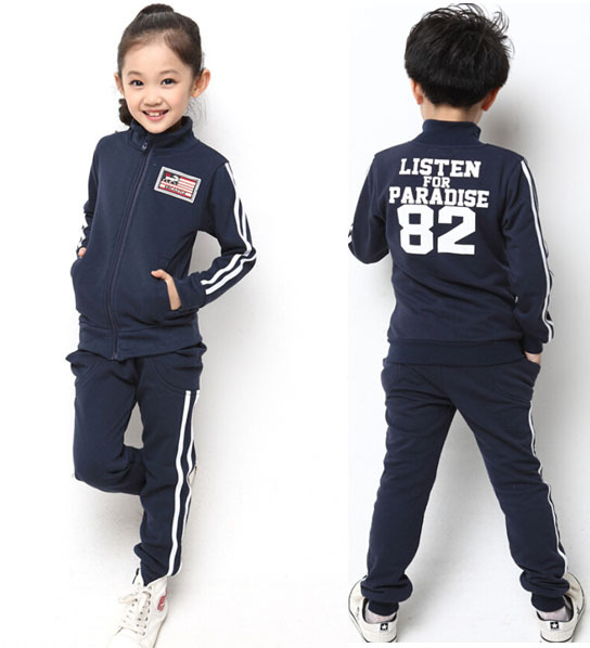 Teenage Sport Clothing Big Boys Girls Tracksuit Striped Jacket and Pants Sample Design Children Running Wear for 5-15Y(China (Mainland))