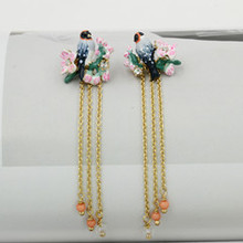 Les delicate flowers birds play spring fashion new hot style earrings(China (Mainland))