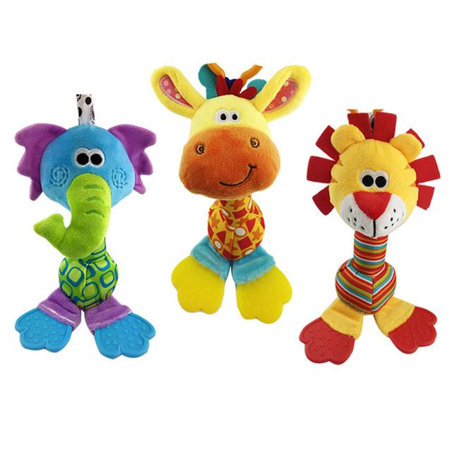 22 см оптовая продажа погремушки детское плюшевые игрушки мягкие колокольчик с teether животных модель детской 0 - 12 месяцев brinquedos WJ251
