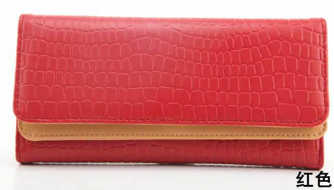 Hot!!!Vintage Stone Triple Ladies Purse Long PU Leather Handbags Fashion Women Wallet 5 Colors Free shipping(China (Mainland))