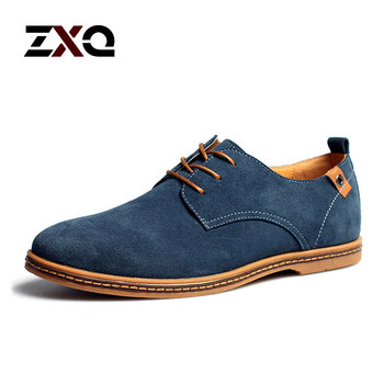 Plus Size 2015 New Fashion Suede Genuine Leather Flat Men Casual Oxford Shoes Low Men Leather Shoes #K01