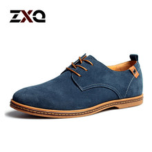 Plus Size 2015 New Fashion Suede Genuine Leather Flat Men Casual Oxford Shoes Low Men Leather Shoes #K01(China (Mainland))