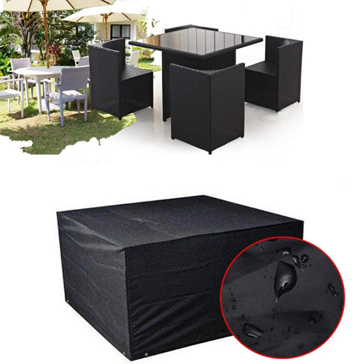 Black Waterproof Outdoor Furniture Cover For Garden Patio Table Chair Setting 4 Seater Furniture Accessories(China (Mainland))