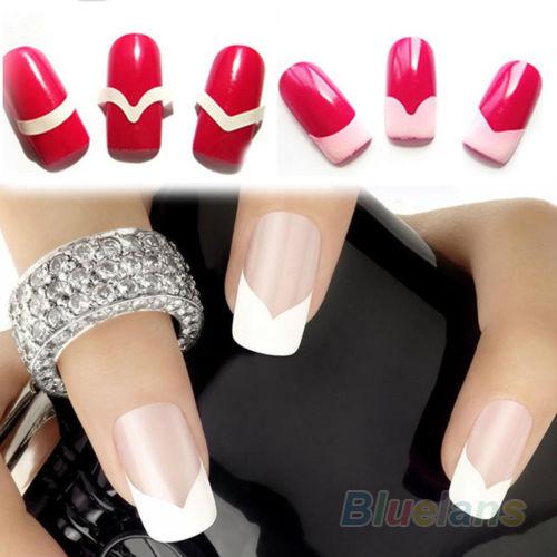New 2Pcs Chic DIY 18 Style French Manicure Nail Art Tips Tape Sticker Guide Stencil 2MV4 4PV3(China (Mainland))