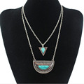 2016 Hot Choker Necklace Fashion Summer Jewelry Collares Vintage Gold Silver Natural Stone Pendant Chains Necklace