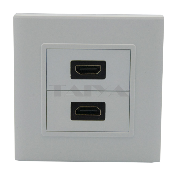 Dual ports HDMI wall plate with back side female to female connector<br><br>Aliexpress