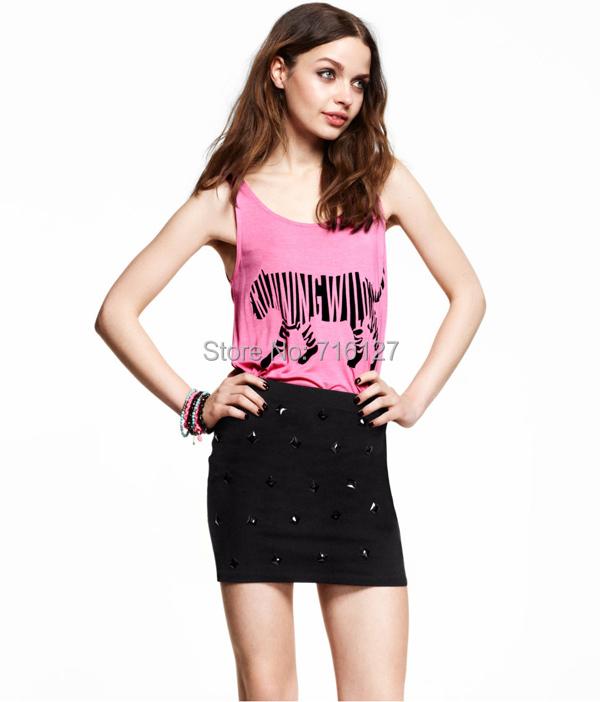 spring Summer 2015 new Plus Size women rock band Running Wild Slim pink zebra print tank tops XS-XXL - Odie's store