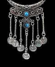 Boho vintage ethnic black stone pendant necklace coin bib choker necklace turkish silver long tassel jewelry