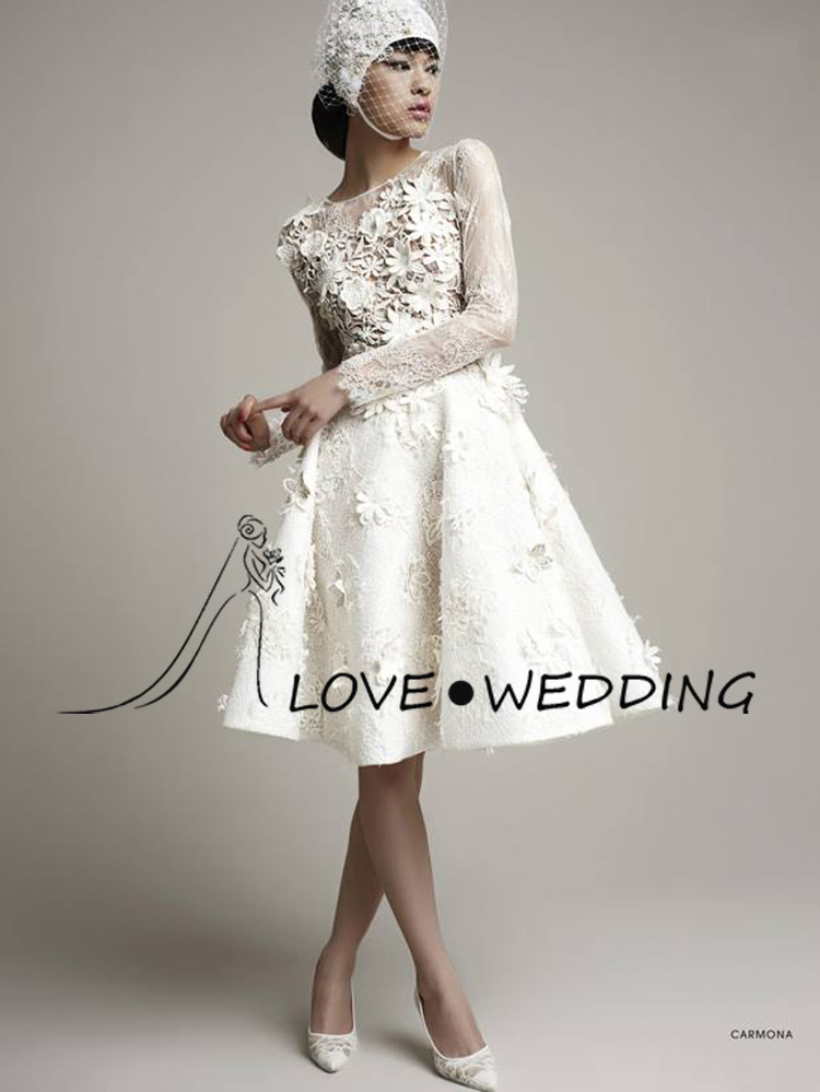 Long Sleeve Short Wedding Dresses