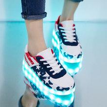 7ipupas 11 צבעים לשני המינים Led נעלי אופנה זוג led זוהר סניקרס Zapatos Hombre Led אור נעל ילדים ילד ילדה זוהר נעל(China)