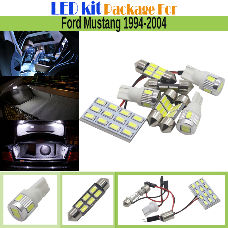 7 Pieces Car Interior LED Kit Package 5630 Chip LED Bulb White Auto Map Dome License Plate Light For Ford Mustang 1994-2004(China (Mainland))