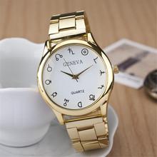 Relogio masculino extranjero glifos reloj de cuarzo, oro de acero lleno de la correa relojes mujer. digital ginebra mujeres del reloj envío gratis