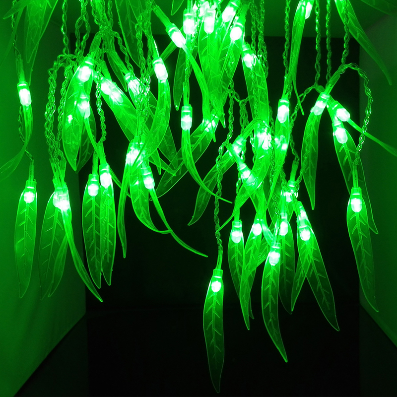 Holdiay Lights 4Mx0.6M decoracion fiestas Green Leaf navidad curtain string lucs LED light christmas decorations for home(China (Mainland))