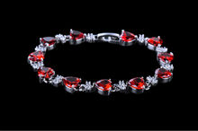 2015 New Woman Indian Red Heart Shape AAA Cubic Zirconia Diamond Delicate Bracelet Gift for Woman GLS0107(China (Mainland))