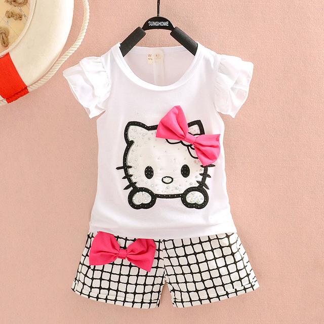 Новый комплект лето детская одежда мультфильм привет-котенок девушки комплект майка ...