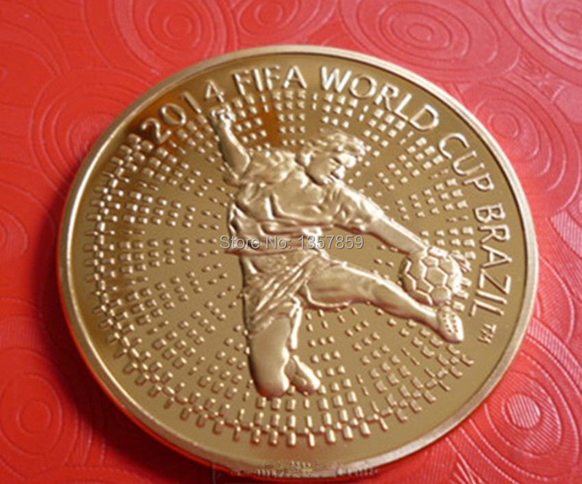 10pcs/ lot. 2014 the world cup soccer Beraus national football Brazil Russia gold plated souvenir coin(China (Mainland))