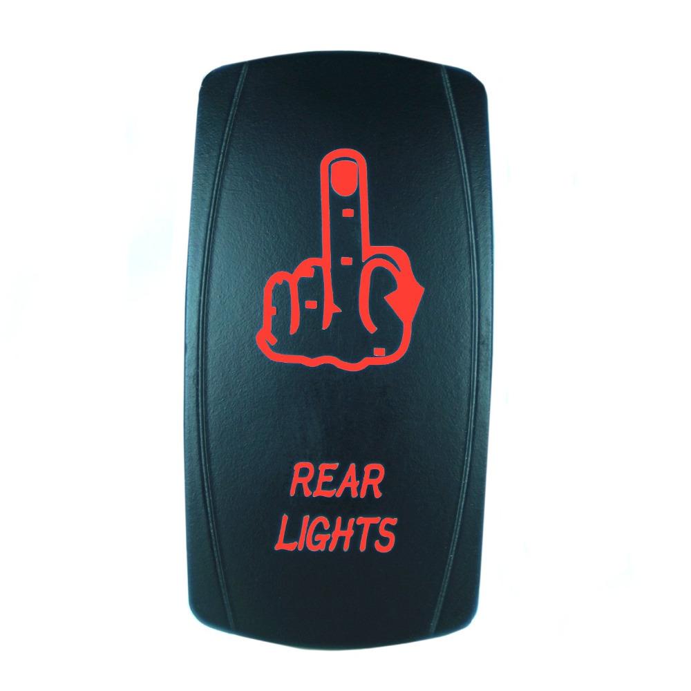 High Quality 5 Pin Laser Backlit Red Rocker Toggle Switch FINGER REAR LIGHTS 20A 12V On/off LED Light Wholesale [KG-037-2](China (Mainland))